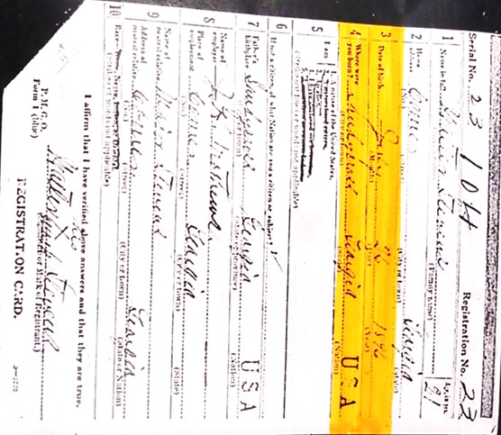 "<a href=""/items/browse?advanced%5B0%5D%5Belement_id%5D=50&advanced%5B0%5D%5Btype%5D=is+exactly&advanced%5B0%5D%5Bterms%5D=Walter+Stevens+WW1+Registration+Card+"">Walter Stevens WW1 Registration Card </a>"