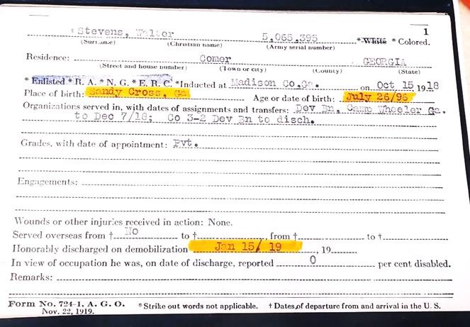"""<a href=""""/items/browse?advanced%5B0%5D%5Belement_id%5D=50&advanced%5B0%5D%5Btype%5D=is+exactly&advanced%5B0%5D%5Bterms%5D=Walter+Stevens+Demobilization+Certificate"""">Walter Stevens Demobilization Certificate</a>"""
