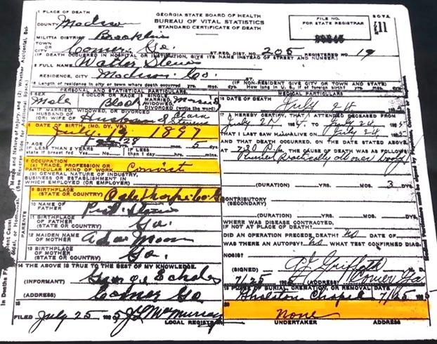 """<a href=""""/items/browse?advanced%5B0%5D%5Belement_id%5D=50&advanced%5B0%5D%5Btype%5D=is+exactly&advanced%5B0%5D%5Bterms%5D=Walter+Stevens+Death+Certificate"""">Walter Stevens Death Certificate</a>"""